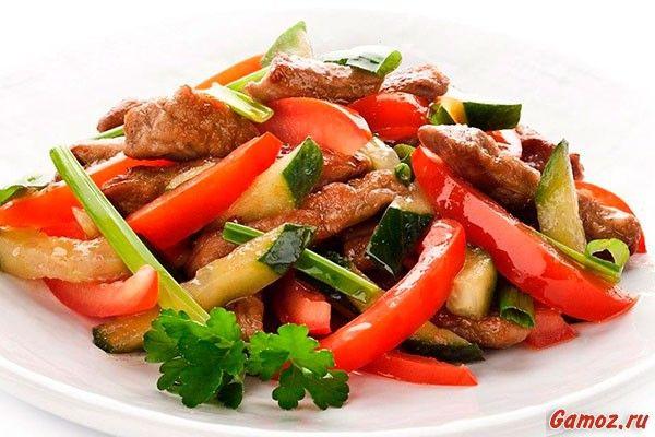 Салаты из маринованного мяса